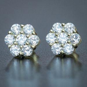 Gold Flower Cluster Cz Stud Hip Hop Earrings